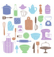 kitchen utensils food kitchenware cooking set vector image