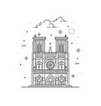 notre dame de paris made in outline vector image