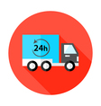 Truck 24 hour Shipping Flat Circle Icon vector image