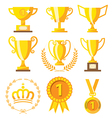 Champion cup and golden medal for Success winner vector image