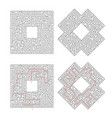 complicated labyrinths with red path of solution vector image