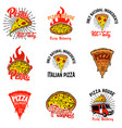 set of pizza labels design elements for vector image