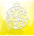 New years toy made of paper on a yellow background vector image