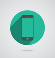Mobile phone in black line vector image