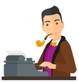 Reporter working at typewriter vector image vector image