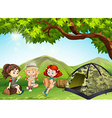 Three girls camping out in the field vector image