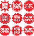 Now open red label Now open red sign Now open red vector image