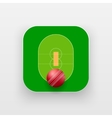 Square icon of cricket sport vector image