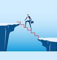 businessman walking on stair to cross through gap vector image