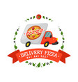 Delivery pizza car badge vector image