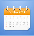 european calendar for october 2017 vector image