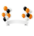 halloween balloons and banner vector image