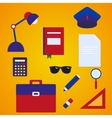 School accessories flat style set vector image