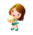Girl holding bowling ball vector image vector image