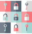 Flat padlock key icon set vector image