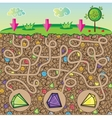Maze for children - nature stones and precious vector image