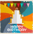 Happy Birthday Card - Retro vector image