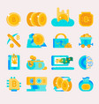 bitcoin mining money icons finance internet vector image