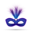 Blue carnival mask with fluffy feathers isolated vector image