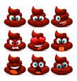 emoji shit and sad icon set collection vector image