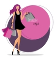 Fashion girl Woman with shopping bags vector image