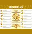 italian pasta menu template for restaurant design vector image