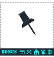 Push pin icon flat vector image