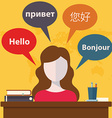 Synchronic translation services and international vector image