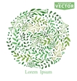 Watercolor Green brunches circle composition vector image