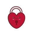 kawaii love heart padlock valentine vector image