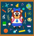 back to school seamless background with bear vector image