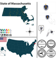 Map of Massachusetts vector image vector image