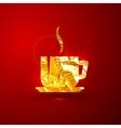 a golden metallic foil coffee or tea cup vector image