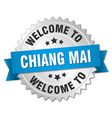 Chiang mai 3d silver badge with blue ribbon vector image