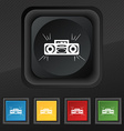 Radio cassette player icon symbol Set of five vector image