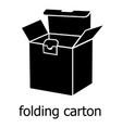 folding carton icon simple black style vector image