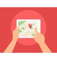 Human hands hold tablet pc with map and location vector image