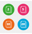 in pack sheets icons quantity per package vector image