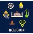 Indian religion and culture flat symbols vector image
