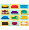 sofa icon set colored collection in flat vector image