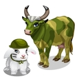 White bunny in helmet and cow in war paint vector image