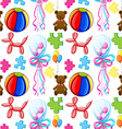 Seamless background with balloons and teddy bear vector image