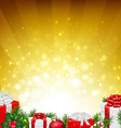 Golden Wall With Fir Tree Border vector image vector image