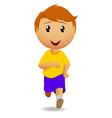 Running man in yellow t-shirt vector image
