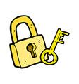 comic cartoon padlock and key vector image