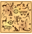 Set elements African petroglyph art old vector image