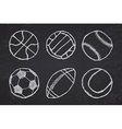 Ball sketch set simple outlined on blackboard vector image