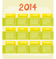 Calendar of year 2014 vector image