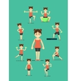 Fitness girl doing exercise set vector image