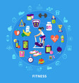 fitness round flat composition vector image